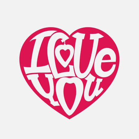 beloved: Design lettering I love you. Hand drawing, an individual font. The composition of the letters in the shape of a heart. White on pink.