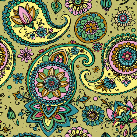 pale green: Seamless pattern based on traditional Asian elements Paisley. Pastel colors: pale green, pink, gold. Illustration