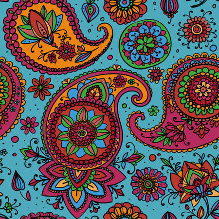 Seamless pattern based on traditional Asian elements Paisley. Bright colors - pink, orange on a blue background. Ilustração