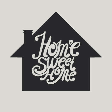 intimate: Design lettering Home Sweet Home. Hand drawing, an individual font. Typographic composition in the circuit house. Illustration
