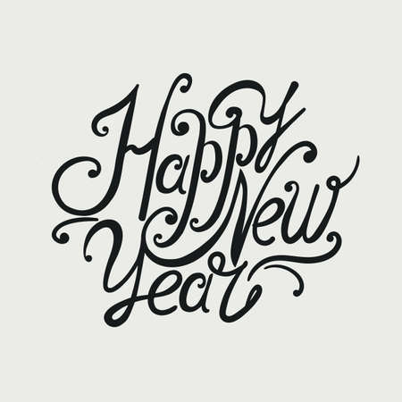 individual: Design font inscription Happy New Year. Individual hand-drawing. Black letters on a light background.