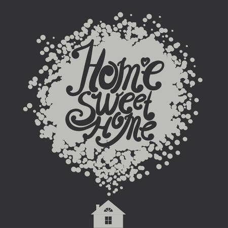 intimate: Design lettering Home Sweet Home. Hand drawing, an individual font. House and a block from the font composition. Illustration