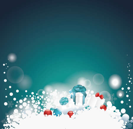 christmas gifts: Christmas background with gifts in blue tones. Illustration