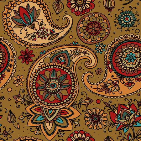 Seamless pattern based on traditional Asian elements Paisley. Gold tone. Banco de Imagens - 50939899