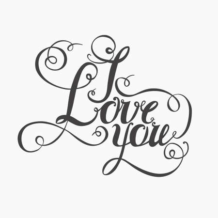 intimate: lettering I love you. Hand drawing, twisted individual font. Dark letters on a light background.