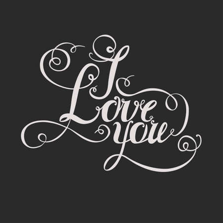 intimate: lettering I love you. Hand drawing, twisted individual font. The bright letters on a dark background.