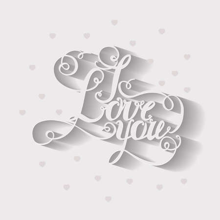 intimate: lettering I love you. Hand drawing, twisted individual font. The bright volume letters.