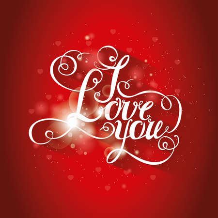intimate: lettering I love you. Hand drawing, an individual font. Bright red background, bright letters, glow effect.