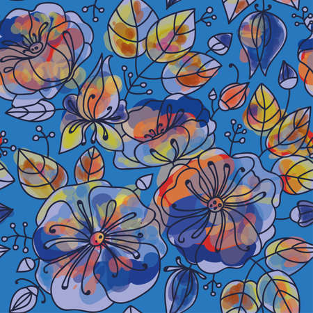 an inflorescence: Floral seamless pattern - anemones. Stylized watercolor technique.
