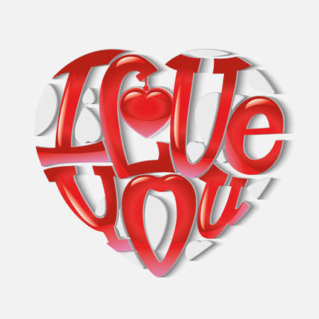 """Design lettering """"I love you."""" Hand drawing, an individual font. The composition of the letters in the shape of a heart. Volume glossy letters."""