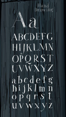 careless: The letters on a wooden background. Hand drawing alphabet. Lettering. Careless style hand-drawing.
