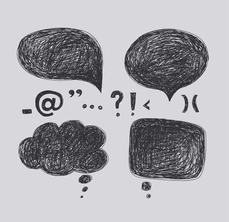 Design elements - a cloud of dialogue and punctuation marks. Hand drawing. Light background, dark pattern.