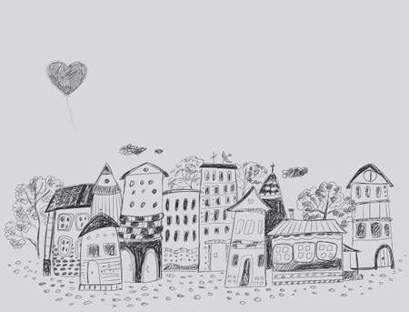 contour: The old fairy-tale town. Contour hand Drawing.