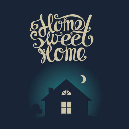 windows home: Lettering Home sweet home. Dark moonlit night. Composition with a house with luminous windows, moon and inscription