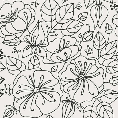 anemones: Floral seamless pattern - anemones. Contour drawing. Light background, dark lines.