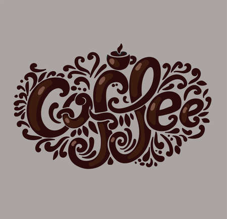 Coffee inscription. Hand drawing, an individual font, twisted letters. Lettering. Patterned frame. Brown.