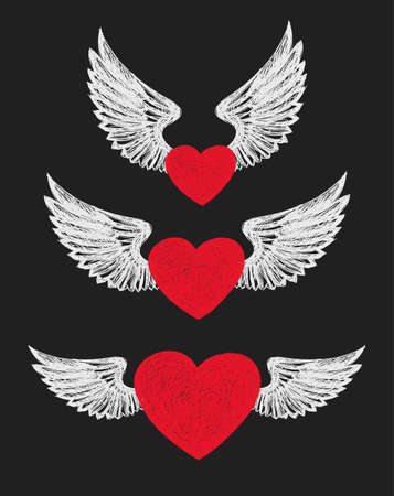 Winged Heart. Set of three red hearts with white wings. Illustration
