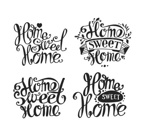 homely: Lettering Home sweet home. Hand drawing. Twisted inscription. Labels, inscription, set of lettering. Light background, black letters. Illustration