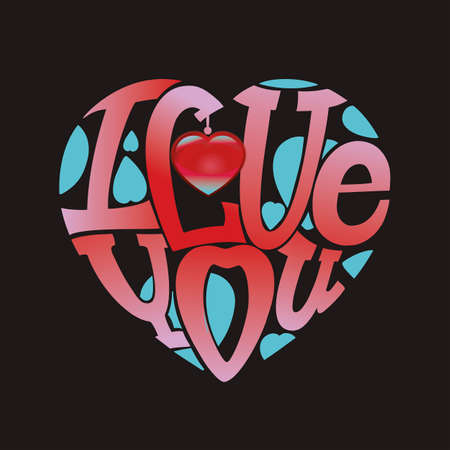 intimate: Design lettering I love you. Hand drawing, an individual font. The composition of the letters in the shape of a heart.Turquoise, red on a black background