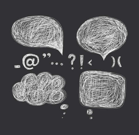 punctuation marks: Design elements - a cloud of dialogue and punctuation marks. Hand drawing.