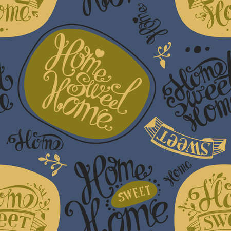 homely: Seamless Home sweet home. Labels and design elements. Lettering. Blue-gray, ocher