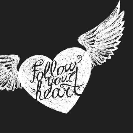 vista: Lettering Follow your heart. White winged heart on a dark background. Hand drawing. Illustration