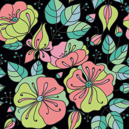 inflorescence: Floral seamless pattern - anemones. Green, pink, yellow on a black background.