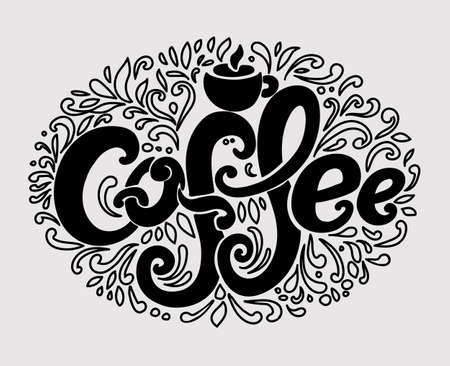 Coffee inscription. Hand drawing, an individual font, twisted letter. Lettering. Pattern Frame. Dark letters, contour pattern