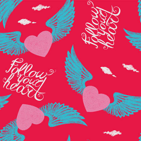 vista: Seamless with winged hearts on a red background Follow your heart
