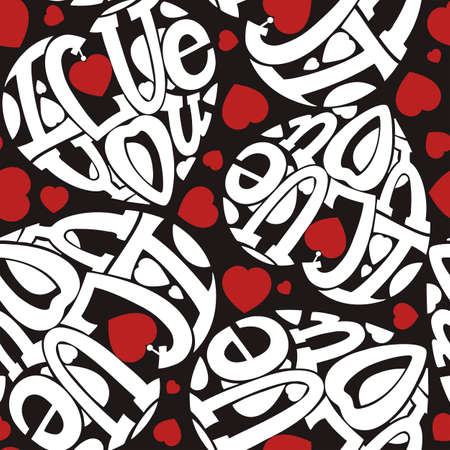 beloved: Seamless I love you. The composition of the letters in the shape of a heart. White, red on black. Illustration
