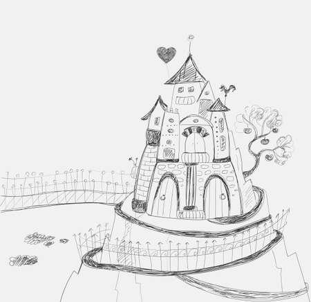 château de conte de fées avec des escaliers d'air sur la montagne. Main dessin de contour.