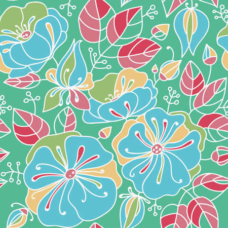 anemones: Floral seamless pattern - anemones. Blue, pink, orange, green, drawing, bright contours.