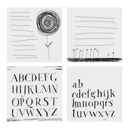 careless: Careless style hand-drawing. Hatching. Hand drawing alphabet. Lettering. Notebook. Illustration