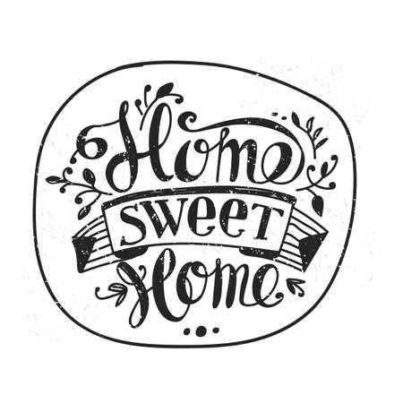 home design: Lettering Home sweet home. Hand drawing. Inscription. Design elements. Illustration