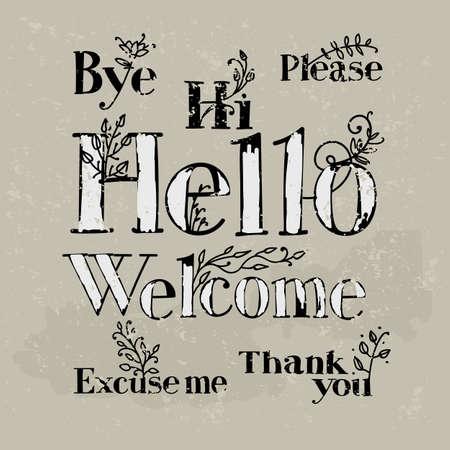 Hand Inschriften höfliche Worte zeichnen. Design im Vintage-Stil mit Elementen der Pflanzenmuster. Standard-Bild - 63135486