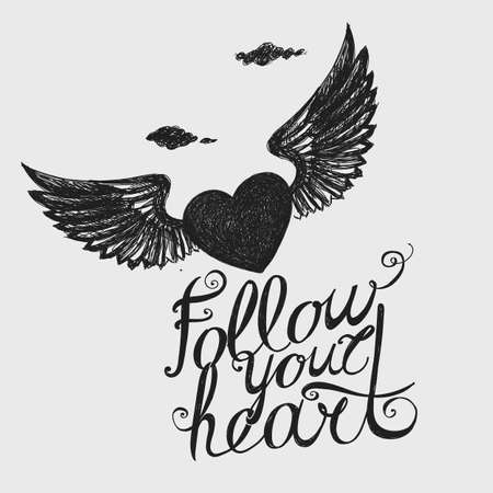 vista: Lettering Follow your heart Compositions with a winged heart. Hand drawing.