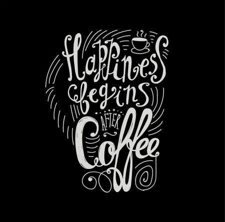 after: Lettering Happiness begins after coffee. Coffee cup with pattern and twisted inscription. Hand drawing. Individual font. Strokes and letters. Black background, bright letters.