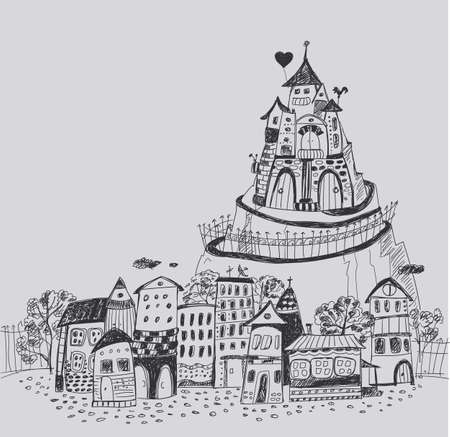 dreamland: Fairy town with a castle on the hill. Hand contour drawing.