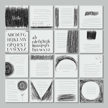 careless: Template sheets note book. Careless style hand-drawing. Hand drawing alphabet. Illustration
