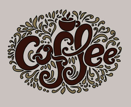 Coffee inscription. Hand drawing, an individual font, twisted letters. Lettering. Pattern Frame. Brown text on a light background.