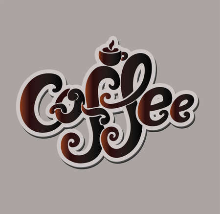 Coffee inscription. Hand drawing, an individual font, twisted letters. Lettering. Brown text on a beige background. Illustration