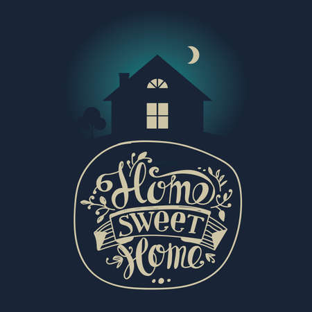 moonlit: Lettering Home sweet home. Dark moonlit night. Composition with a house with glowing windows and marked with the logo and design elements. Illustration