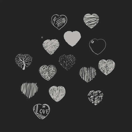 dashes: Set of painted hearts. Black and white graphic image.  Dark background.