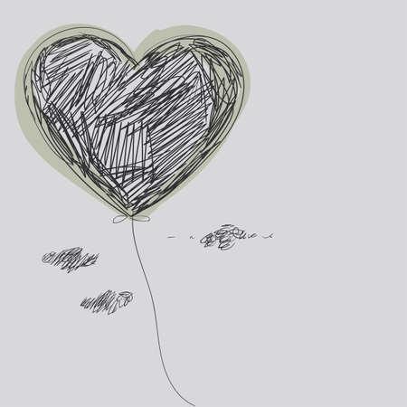 Balloon - coeur. Dessin à main levée.