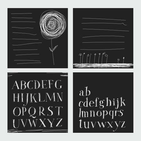 careless: Careless style hand-drawing. Hatching. Hand drawing alphabet. Lettering. Notebook. Dark background, bright letters Illustration