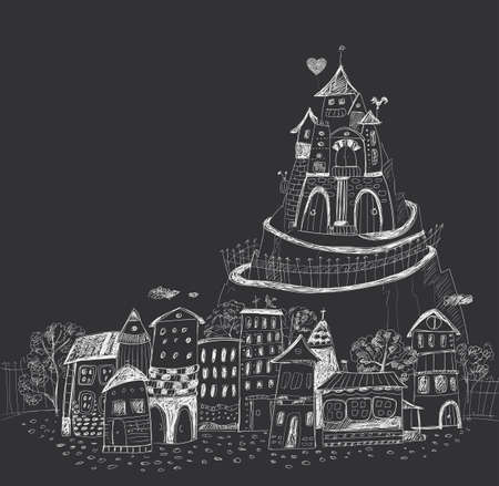 Fairy town with a castle on the hill. Hand contour drawing. Dark background, light lines