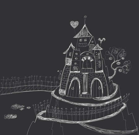 dreamland: Fairy-tale castle with air stairs on the mountain. Hand contour drawing. Dark background, light lines.