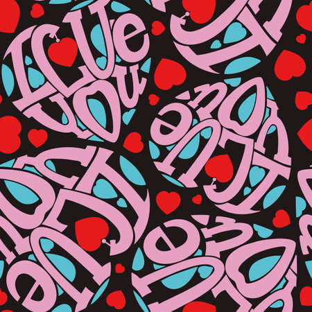 intimate: Seamless I love you. The composition of the letters in the shape of a heart. Pink and turquoise on a dark background. Illustration