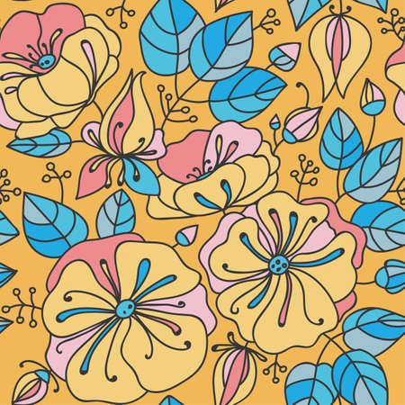 anemones: Floral seamless pattern - anemones. Blue, pink, orange.