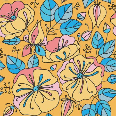 inflorescence: Floral seamless pattern - anemones. Blue, pink, orange.